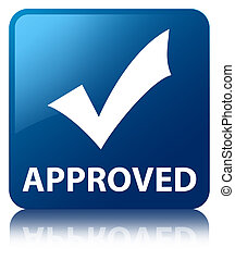 Approved (validate icon) blue square button