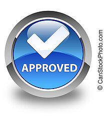 Approved (validate icon) glossy blue round button
