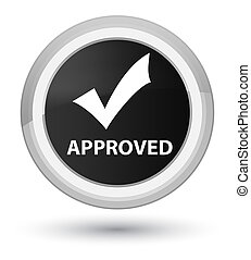 Approved (validate icon) prime black round button