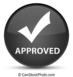 Approved (validate icon) special black round button