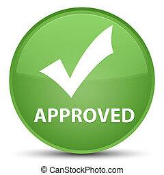 Approved (validate icon) special soft green round button