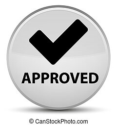 Approved (validate icon) special white round button