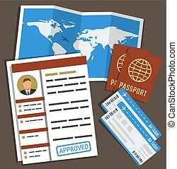 Approved visa form, passports, tickets and map. Travel, immigration concept. Vector illustration in flat style