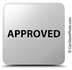 Approved white square button