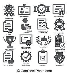 approvement, fondo, bianco, accreditation, set, icone