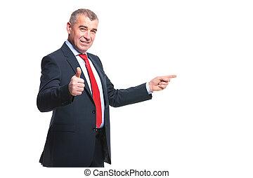 approves, punten, bovenkant, zakenmens