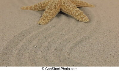 Approximation of a beautiful yellow starfish lying on a zigzag made of sand.