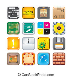 apps, セット, 5, アイコン