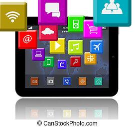 apps, 上に, ∥, デジタルタブレット