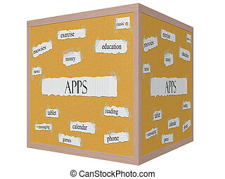 Apps 3D Cube Corkboard Word Concept