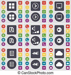 Apps, Arrow right, Monitor, ZIP file, Volume, Media skip, Calendar, Trumped, Cloud icon symbol. A large set of flat, colored buttons for your design. Vector