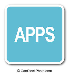 apps blue square internet flat design icon