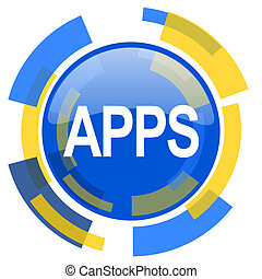 apps blue yellow glossy web icon