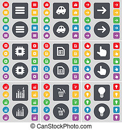 Apps, Car, Arrow right, Processor, File, Hand, Graph, Trash can, Light bulb icon symbol. A large set of flat, colored buttons for your design.