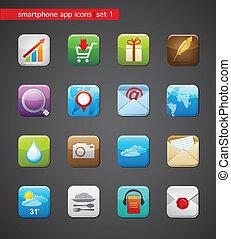 apps, colección, iconos