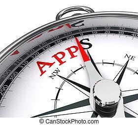 apps, concettuale, bussola