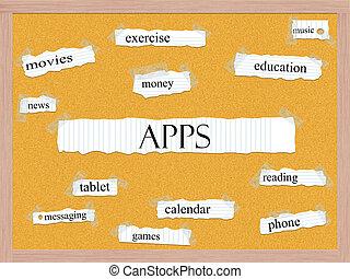 Apps Corkboard Word Concept