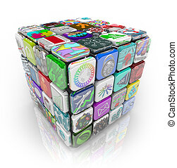 Apps Cube of Application Software Tiles - A 3D cube made of...