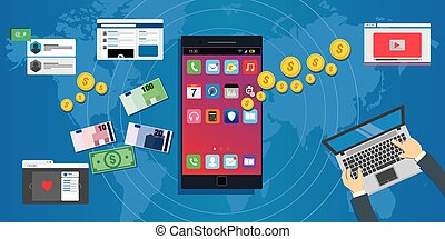 apps economy mobile application development ecosystem concept illustration