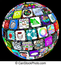 apps, en, esfera, patrón, -, mundo, de, móvil, aplicaciones
