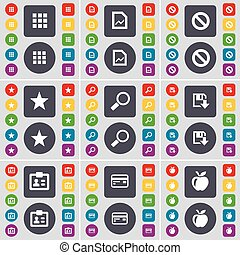 Apps, Graph file, Stop, Star, Magnifying glass, Floppy, Contact, Credit card, Apple icon symbol. A large set of flat, colored buttons for your design. Vector