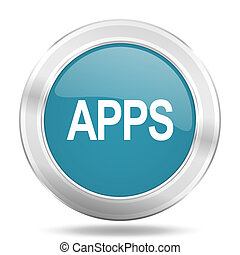 apps icon, blue round glossy metallic button, web and mobile app design illustration