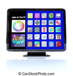 A HDTV television with a menu of application app icons on screen representing a wide range of options for watching entertainment or some form of multimedia