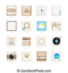 apps icons set retro style. Vector illustration eps10