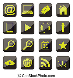 apps, ikone, satz