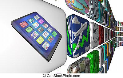 apps, illustration, téléphone portable, intelligent, téléchargement, nouveau, logiciel, marché, 3d