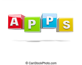 APPS - Inscription on the cubes of red, apps