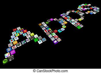 apps, många, ikonen, -, ringa, applikationer, tegelpanna, ...