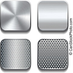 Apps metal icon set. Vector illustration