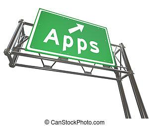 apps, mot, sur, signe autoroute, -, application, magasin