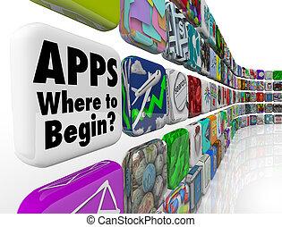 apps, où, commencer, mur, de, app, tuiles, beaucoup, confondre, choix