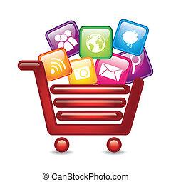 apps over shopping cart, app store. vector illustration