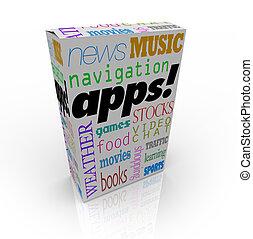 apps, palabra, en, cuadro de cereal, y, muchos, software,...