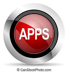 apps, rotes , glänzend, web, ikone