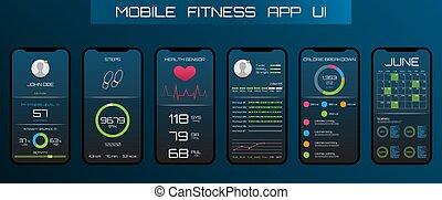 apps, schnittstelle, telefon, spur, pedometer., schritte, anwendung, app, beweglich, design, begriff, fitness.