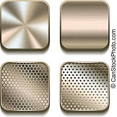 apps, set., métal, icône