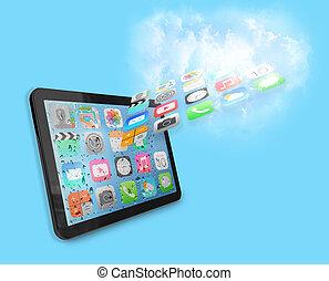 apps, tabliczka, chmura
