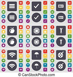 Apps, Tick, Buy, Apple, Processor, Wrench, Wi-Fi, Umbrella, Videotape icon symbol. A large set of flat, colored buttons for your design. Vector