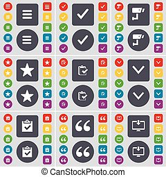 Apps, Tick, CCTV, Star, Survey, Arrow down, Survey, Quotation mark, Monitor icon symbol. A large set of flat, colored buttons for your design. Vector