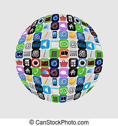 apps, vector, conjunto, ilustración, icono