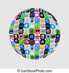 apps, vektor, sätta, illustration, ikon
