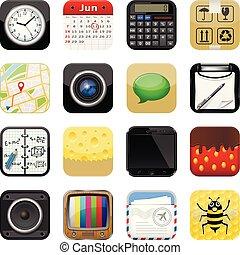 apps, vetorial, jogo, ícones