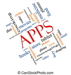 Apps Word Cloud Concept Angled