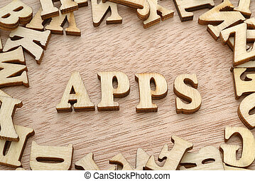 Apps word made with wooden letters