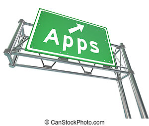 Apps Word on Freeway Sign - Application Store