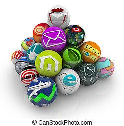 apps, zastosowanie, software, ruchomy, programy, w, piramida